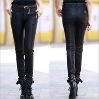 Black S 5XL Women Plus Size Leather Pants Fashion Slim PU Trousers Female Autumn & Winter Elasticity Pants