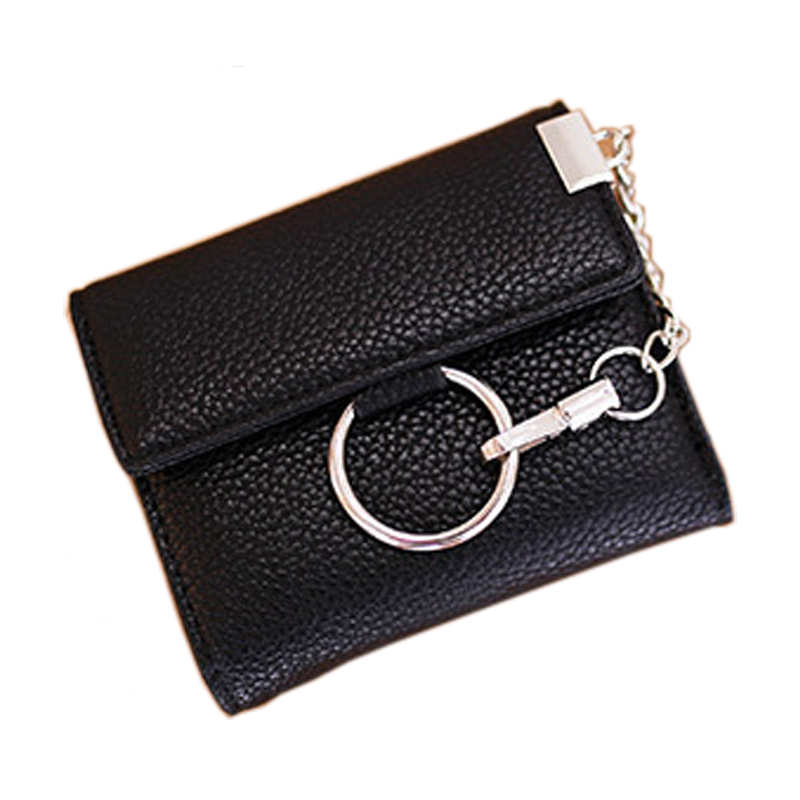 Women Wallet Female Purse Leather Wallet Coin Card Holder Wallet Small Short Purse Money Trifold Clutch Metal Ring Key Chain