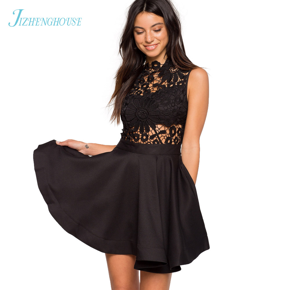 JIZHENGHOUSE Summer Lace Party Dress Women Casual O Neck Dress Fashion Sleeveless Mini Skater Dress