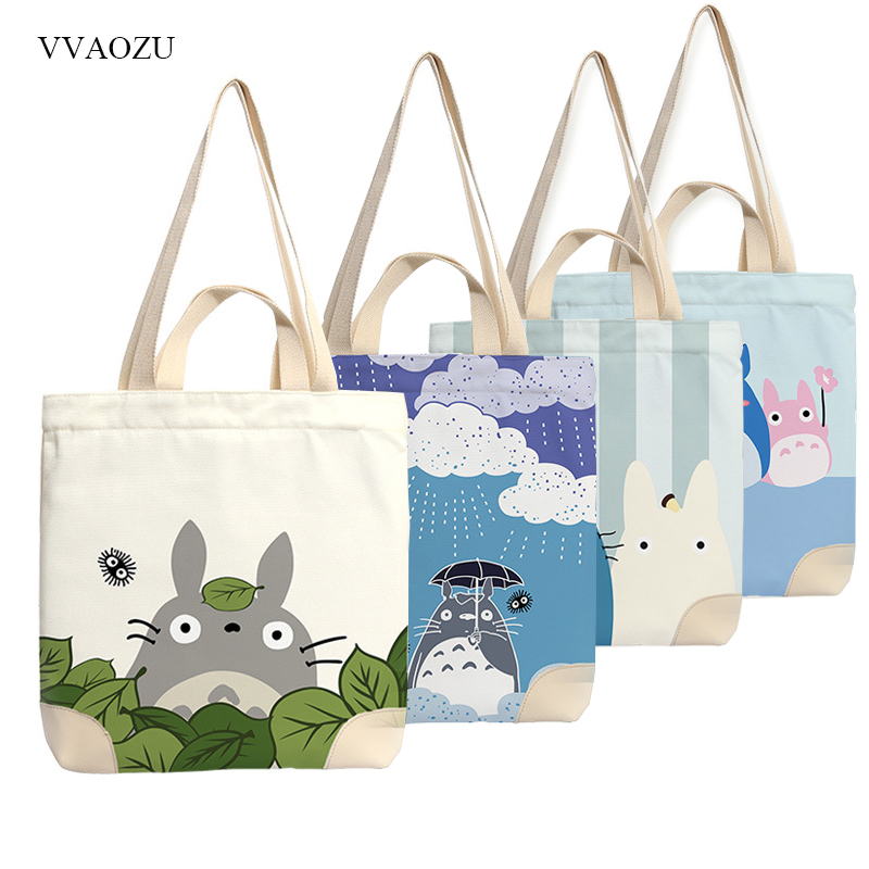 Anime Totoro Canvas Tote Bag Shopping School Books Bag Women Shoulder Bags Travel Handbag for Boys Girls my neighbor totoro anime cosplay canvas shoulder bag fashion women handbag casual daily shopping bags
