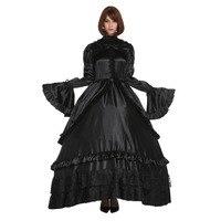Sissy Girl Lockable Gothic Lolita Punk Satin Black Dress Crossdress Big Sleeve Style Cosplay Costume