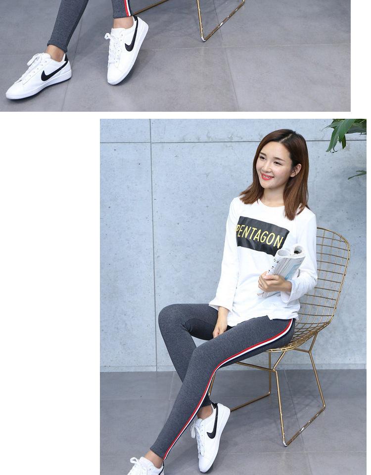 High Quality Cotton Leggings Side stripes Women Casual Legging Pant Plus Size 5XL High Waist Fitness Leggings Plump Female 26