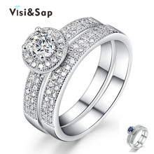 Eleple Couple ring set White Gold color rings for women lovers wedding bands gifts ring engagement Bijoux Jewelry MSR091 недорого