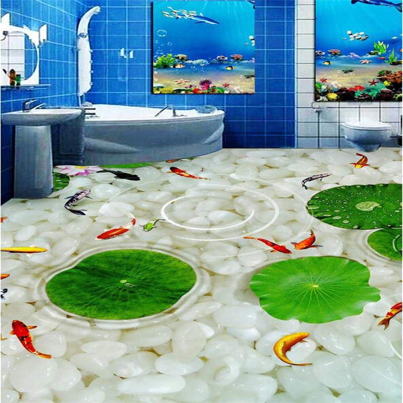 Купить с кэшбэком beibehang Kitchen Custom 3D floor mural wallpaper wear non-slip waterproof thickened self-adhesive 3d PVC photo Wallpaper