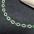 Classic natural emerald genstone bracelet 3*6mm 16 pcs high quality emerald pure 925 sterling fashion silver jewelry for woman