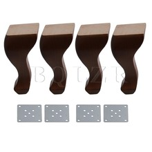 BQLZR 20cm Height Brown Rubber Queen Anne Style Wooden Sofa Table Chair  Feet For Home