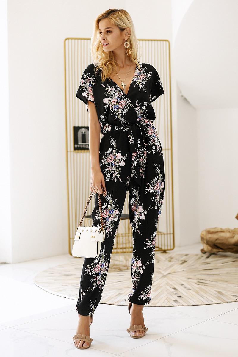 Vintage Floral Print Boho V Neck Short Sleeve Loose Sash Jumpsuit