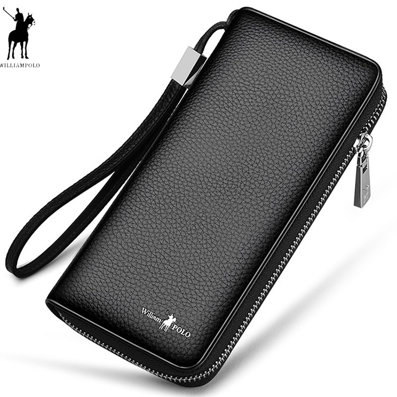 Mens Credit Card Holder Cow Leather Long Clutch Bags WILLIAMPOLO Phone Business Card Checkbook Organizer Wallet Fashion Zipper men pu leather credit card holder billfold wallet purse checkbook clutch