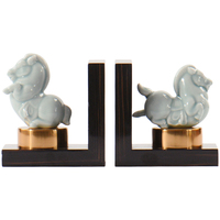 1 pair Modern neoclassical ceramic pony book stand office model room hotel bookcase wine cabinet decoration Lu601159