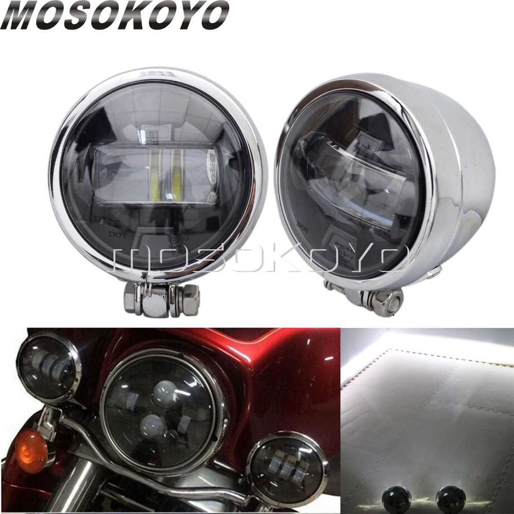 E Mark LED 2X Motorcycle Chrome Spotlight Cafe Racer Fog Light Spot Beam for Harley Sportster Touring Road King Softail