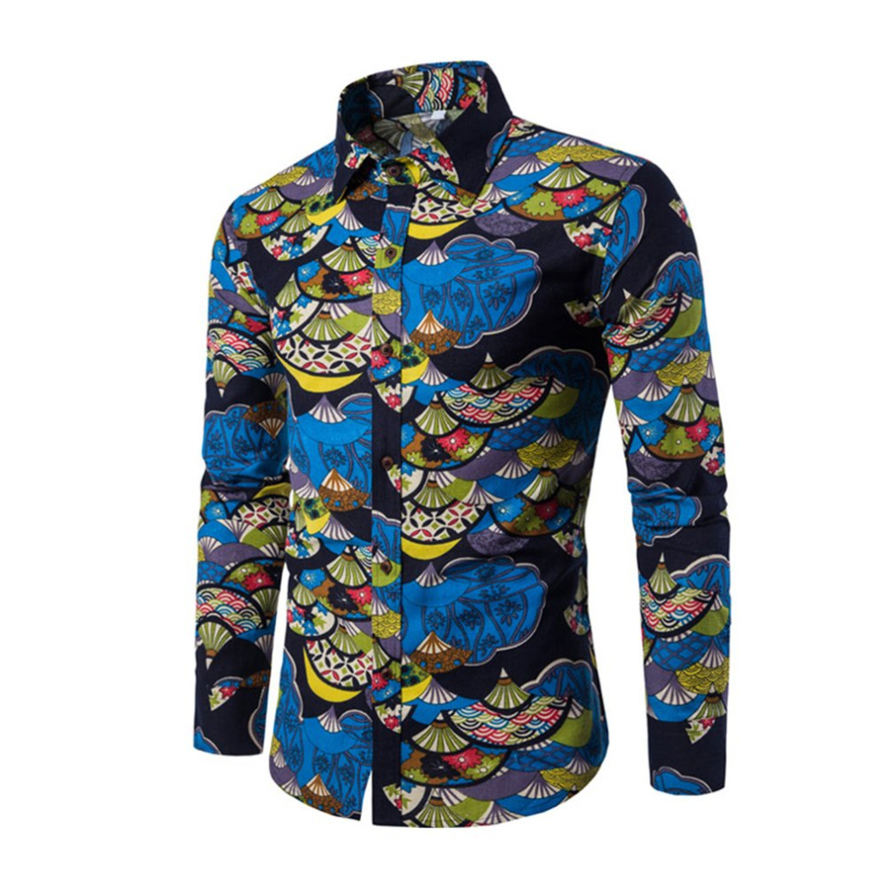 Spring Autumn Casual Men Shirt Slim Fit Flower Print Linen Shirt Long-sleeved Shirts Mal ...