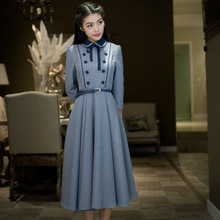 Осеннее женское платье, винтажное, ретро, элегантное, консервативный стиль, Свинг подол, туника, пояс, женские платья