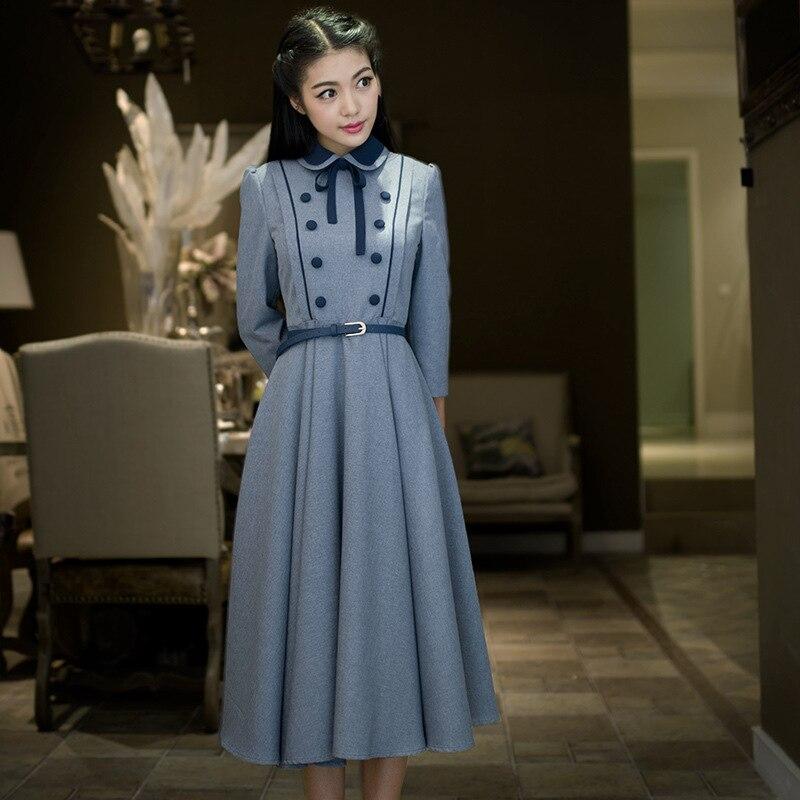 2016 Autumn Women dress Vintage Retro Elegant Preppy Style Swing hem Tunic Belt Ladies' Vestidos