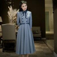 2018 Autumn Women dress Vintage Retro Elegant Preppy Style Swing hem Tunic Belt Ladies' Vestidos