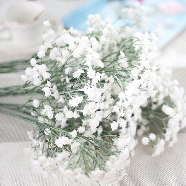 2017 New Artificial Silk Fake Flowers Gypsophila Floral Wedding Bouquet Bridal Hydrangea Decor J620