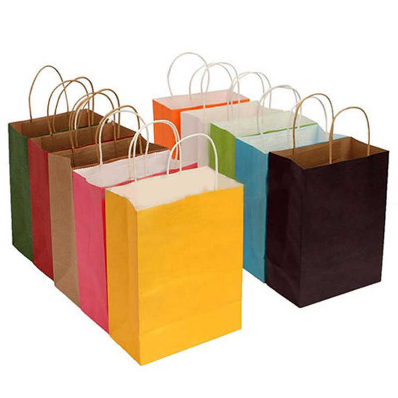 Sale 1PC  Leisurely With Handles Gift Paper Bags Party Kraft Paper Solid Color Square Shopping Bags