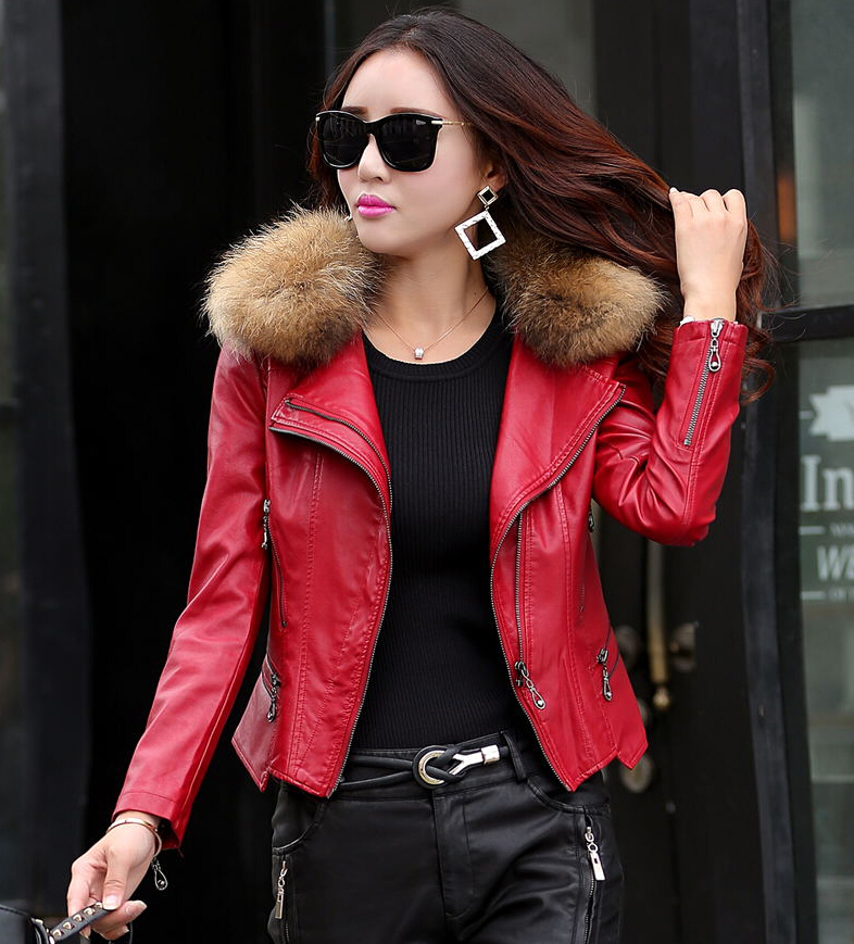 Aliexpress.com : Buy Real fur collar Leather jacket women Coat ...