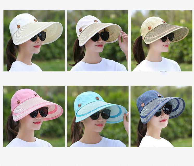 816957eb7594b COKK Chapéus Mulheres Ampla Grande chapéu da Borda Floppy Summer Beach Sun  Straw Hat Cap Botão Chapéus de Verão Para As Mulheres Anti-uv cap viseira  ...