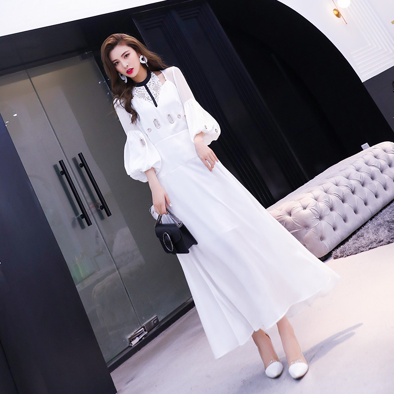 D'été Manches Longue Femmes Blanc De La À Conduites Mode En Maxi Festa Printemps Lanterne 2019 Nouveau Robe Échancré Parti Carburant Dentelle Patchwork YaSYq