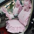 Universal Cotton flowered Print Plaid Folds Auto Car Seat Cover 19pcs Sets - Pink