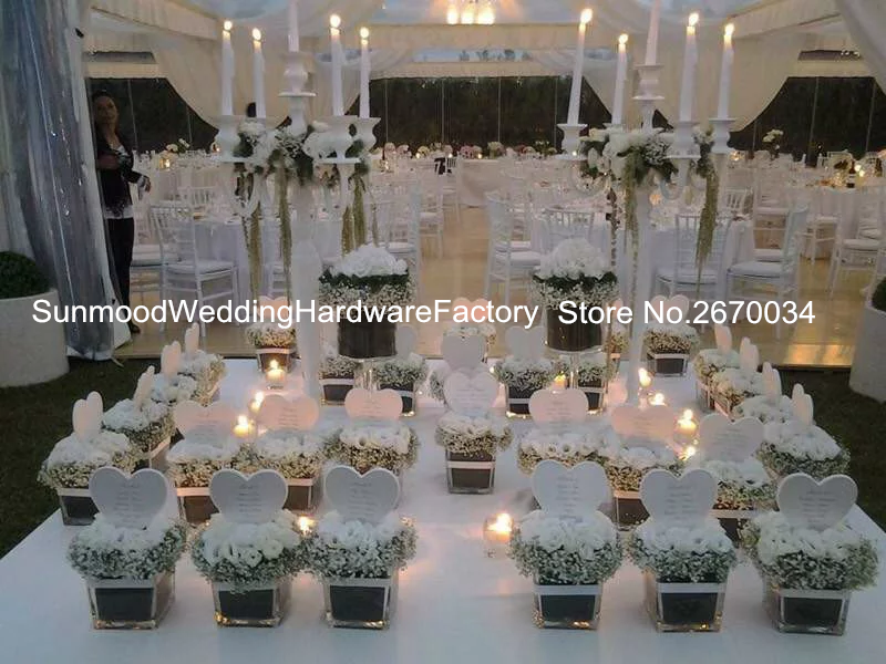 Cheap White Mental Flower Vase White Cylinder Wedding