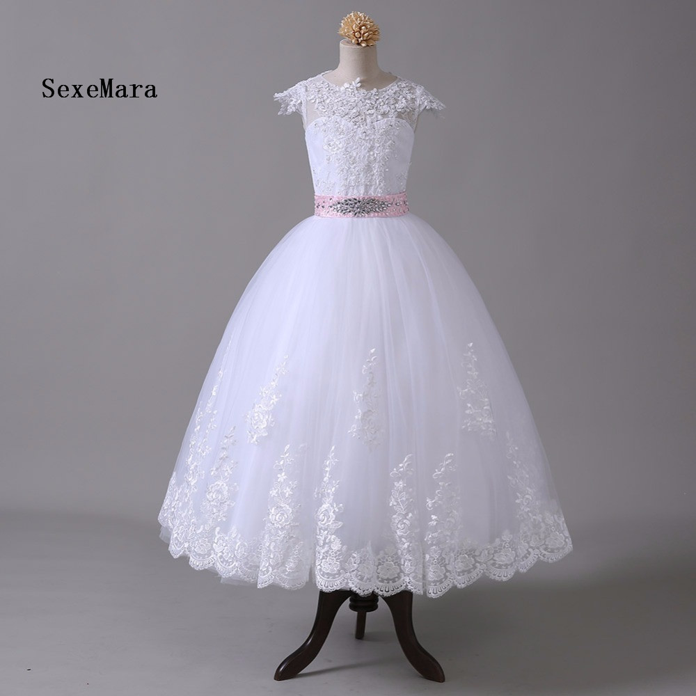 2018 Top Real Picture Flower Girl Dresses For Weddings Ball Gown Cap Sleeves Lace Bow First Communion Dresses For Little Girls fyscope 2 0mp hd digital microscope camera vga usb av video output for industry pcb lab
