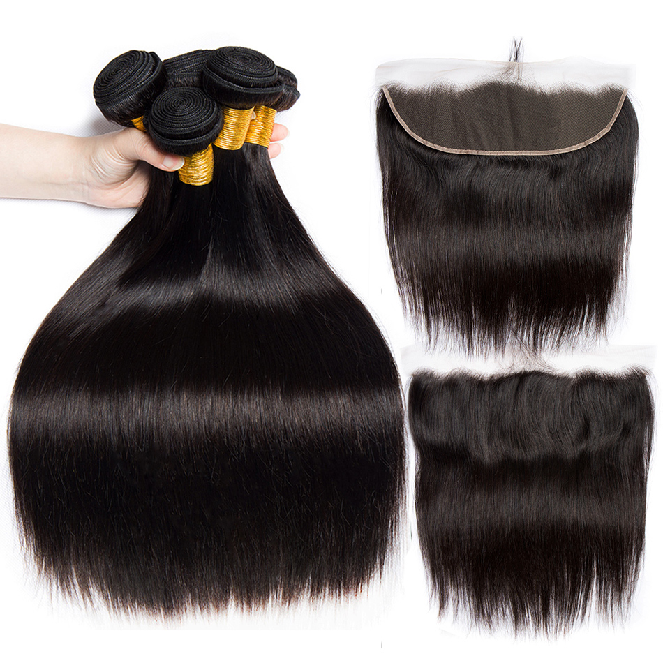 Alibele Brazilian Straight Hair Bundles with Frontal Closure Remy Brazilian Human Hair13x4 Lace Frontal Closure With