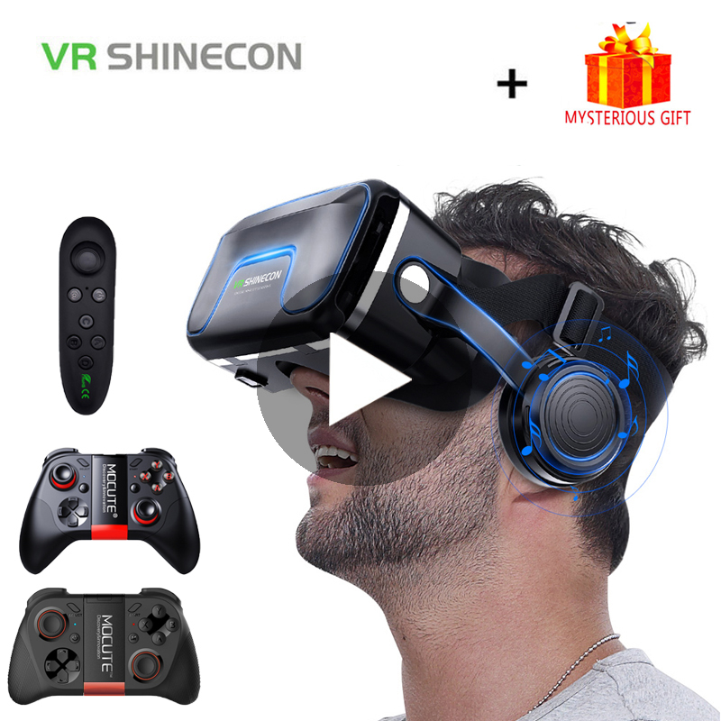 VR Shinecon 10.0 Helmet 3D Glasses Virtual Reality Casque For iPhone Android Smartphone Smart Phone Goggles Gaming 3 D Lunette(China)