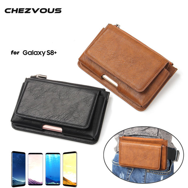new arrival 0af9e 26491 US $9.39 6% OFF|S8+ Leather Phone Pouch Waist Bag for Samsung Galaxy S8  Plus Phone Case Belt Clip Bag Men Wallet Phone Cover with Card Holder-in ...