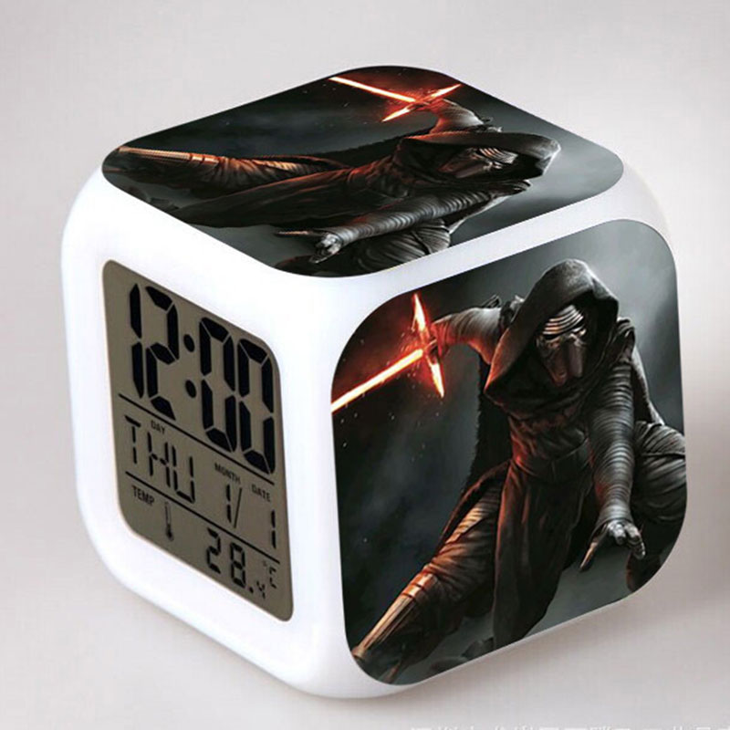 Anime Figurines Star Wars Darth Vader Stormtrooper Darth Maul Yoda LED Touch Colorful light Alarm Clock Figure Toys for Children star wars bb8 droid 3d bulbing light toys 2016 new 7 color changing visual illusion led lamp darth vader millennium falcon toy
