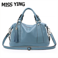 MISS YING Brand Summer New Genuine Leather Women Tote Bag Designer High Quality Tassel Handbags Ladies