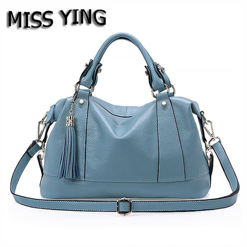 MISS YING Brand Summer New Genuine Leather Women Tote Bag Designer High Quality Tassel Handbags Ladies Cow Leather Crossbody Bag 2017 new arrival designer women leather handbags vintage saddle bag real genuine leather bag for women brand tote bag with rivet