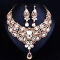 Perlas africanas Sistemas de la Joyería de Oro Plateado Declaración Gota de Agua Pendientes Del Collar Clásico Indio Joyería Nupcial Conjunto
