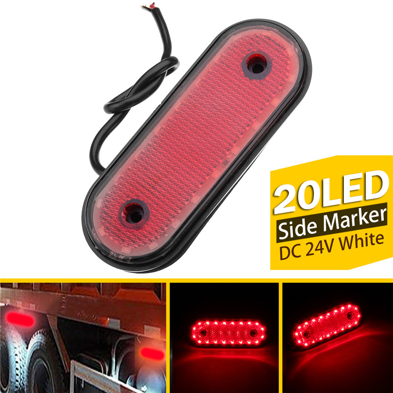 1Pcs 20LED Red Side Marker Light 24V LED Rear Clearance Lamp Tail Lights For Truck, RV Trailer, Lorry, Pickup, Boats