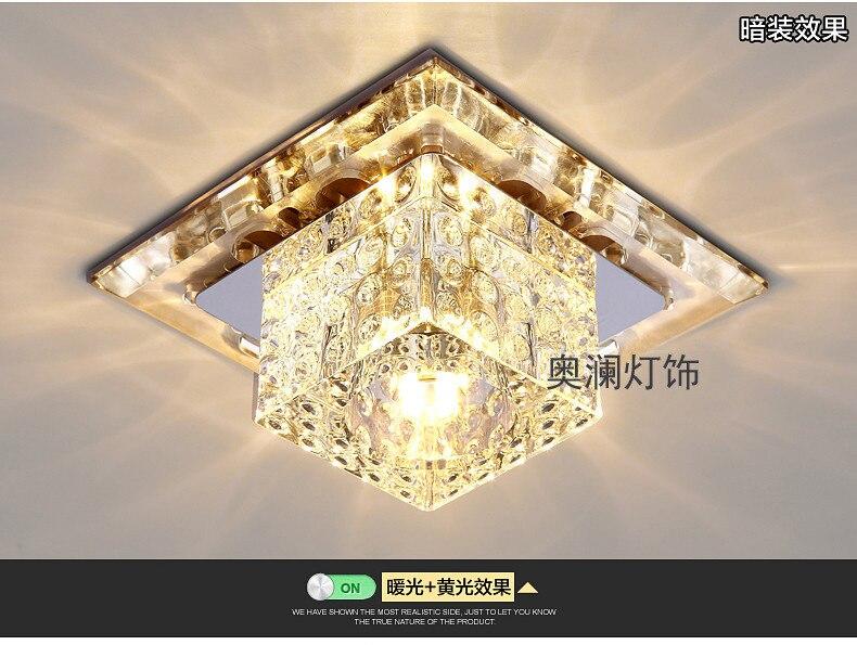 Modern Crystal Ceiling Light Square K9 Crystal Lamp AC90V-260V Living Room Bedroom Lamp Lighting Fixtures Aisle Lights WCL034