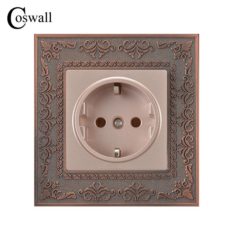 Coswall 16A EU Standard Steckdose 4D Präge Retro Zink-legierung Panel Wand Steckdose AC 110 ~ 250 v