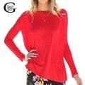 Lace girl casual camisas tops 2017 mujeres de la manera camisa suéter rojo otoño primavera casual o-cuello de manga larga de la gasa tapas de la camiseta
