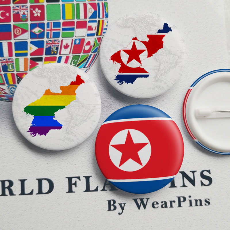 North Korea Flag Map Tin Button Pins LGBT Gay Rainbow Pride Tin Button Badges image