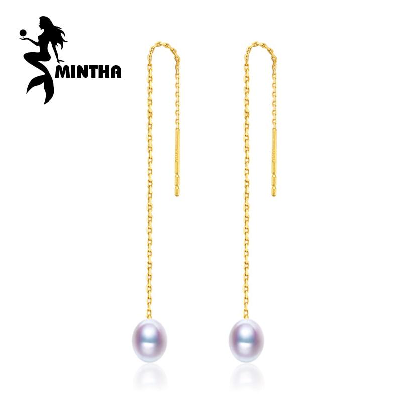 MINTHA 18k gold earrings pearl jewelry, Antiallergic 18K yellow Gold drop earrings For Women 2017 New classic long earrings браслет на ногу other 18k