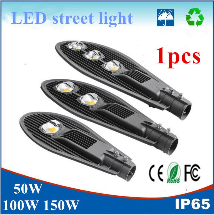 1pcs Outdoor lighting Led Street light 50W 100W 150W Led Streetlight COB Street lamp Waterproof IP65 AC85-265V Path Lights led 50w streetlight 12v 24v cob solar street light road lamp garden park path light warm cold natural white outdoor lighting
