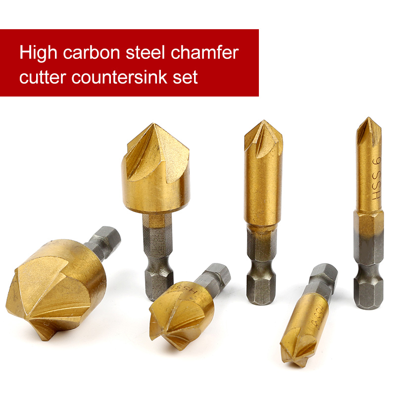 HOEN 6PCS 5 Flute HSS Drill Bit Hard Metals Natural Color Five Edge Chamfer Chamfering End Mill Cutter Countersink