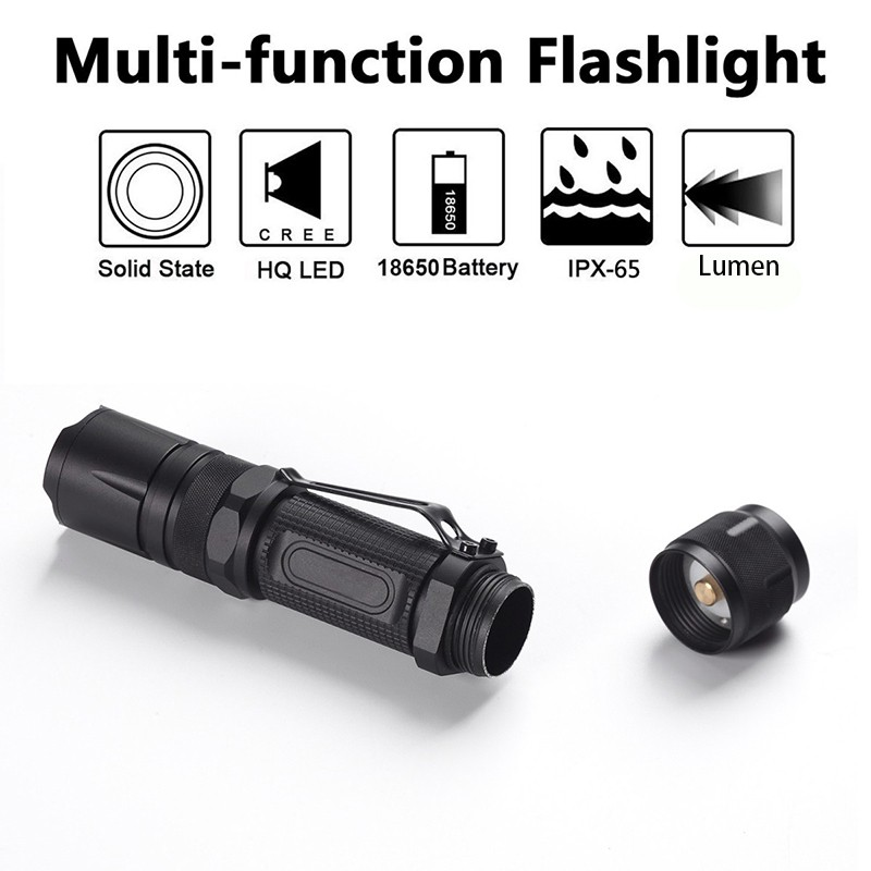 PANYUE Multi Functional Self Defense Flashlight Torch XM L2 led Flashlight 4 Modes Rechargeable Mini LED Flashlight Torch in LED Flashlights from Lights Lighting