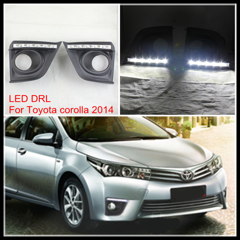 Car Styling LED DRL FOG LIHGT LAMP For TOYOTA COROLLA 2014-15 LED fog DRL AUTO LED daytime running light for TOYOTA COROLLA DRL car styling auto headlight headlamp for toyota corolla 2013 2014 2015 bifocal lens guiding light best quality daytime running