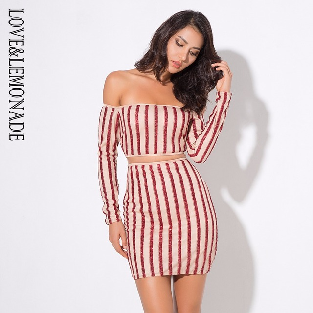 Love Lemonade . Red   Nude Color Neck Mesh Stripes Stitching Dress 3 ... 3926f4a5985d