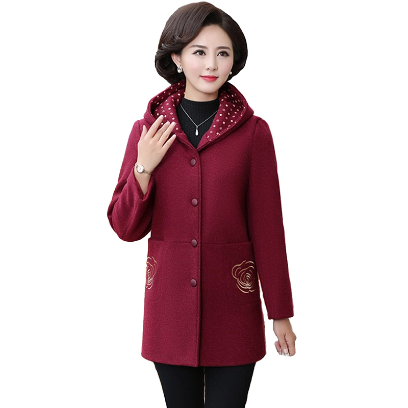 New Autumn Winter Woolen Coat Women Hooded Coat Plus Size 5XL Middle Aged Female Embroidery Windbreaker Spring Woolen Coats H667