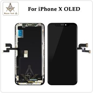 Image 2 - גבוהה באיכות OLED עבור iPhone X XS XR תצוגת OLED עבור iPhone X תצוגת החלפת מסך עם אמיתי טון משלוח חינם