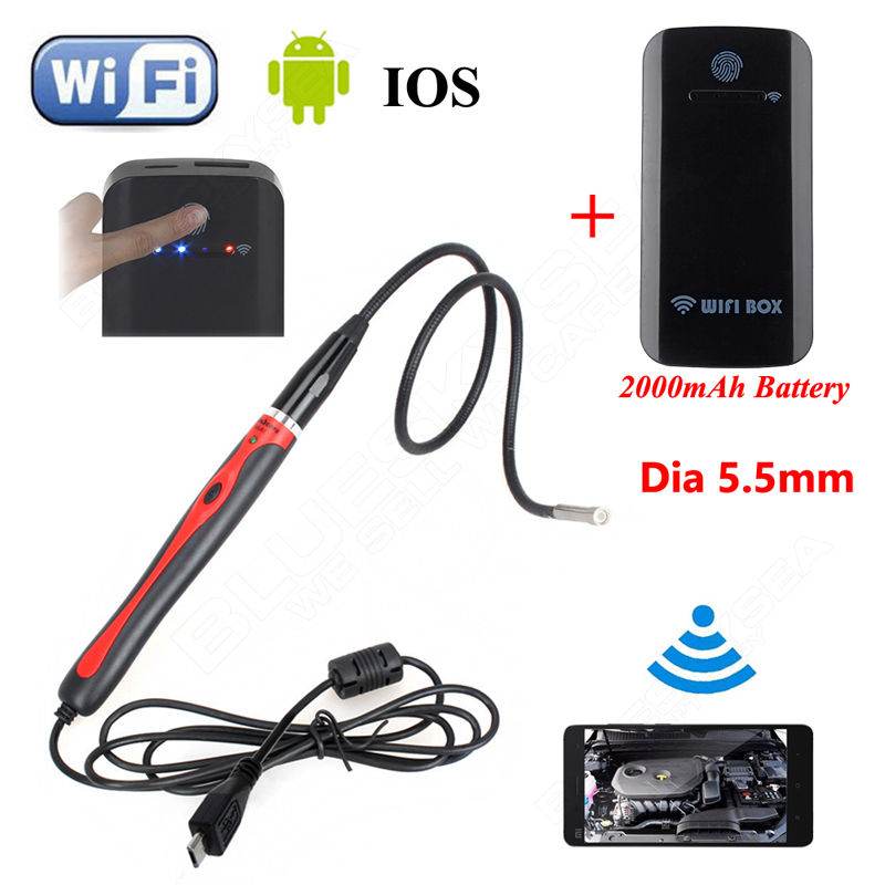 ФОТО Eyoyo 6LED 5.5mm Endoscope Waterproof Inspection Camera For Windows XP/7/Vista/8 Android 4.0+Wireless WIFI BOX For IOS Android
