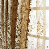 FYFUYOUFY Europe Type Curtain Sitting Room The Bedroom French Window Shading Velvet Fabric Bronzing Printed Cloth