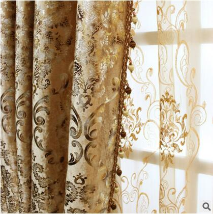 FYFUYOUFY Europe Type Curtain Sitting Room The Bedroom French Window Shading Velvet Fabric Bronzing Printed Cloth Curtain/tulle