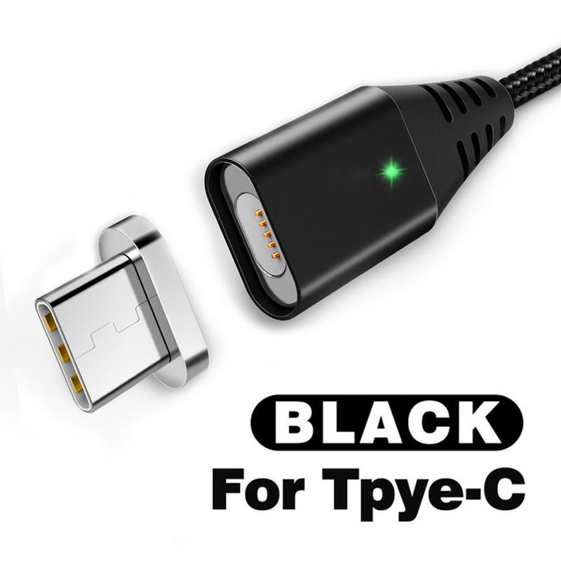 GETIHU 2.4A быстрое зарядное устройство 3,0 Магнитный кабель для iPhone XS XR X 7 6 Быстрый Micro usb type C магнит type-C телефонный кабель для samsung - Цвет: For Type C Black
